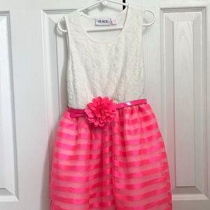 Girls Sleeveless Belted Layered Dress